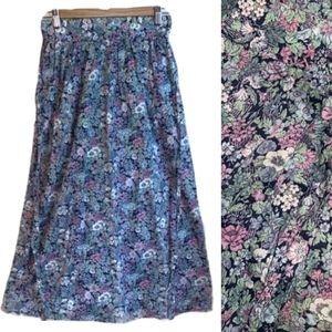 VINTAGE Multicolored Floral Cottagecore Skirt, M